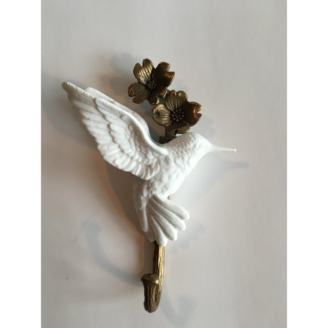 Porcelain & Brass Birds Wall Mount Hooks - Pair - Image 3 of 11