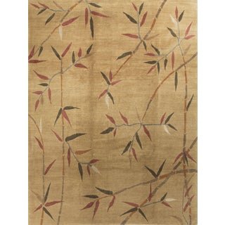 Contemporary Bamboo Motif Wool Rug - 9' x 12'