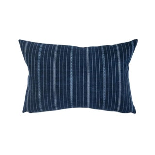 Vintage Indigo Ikat Striped Pillow