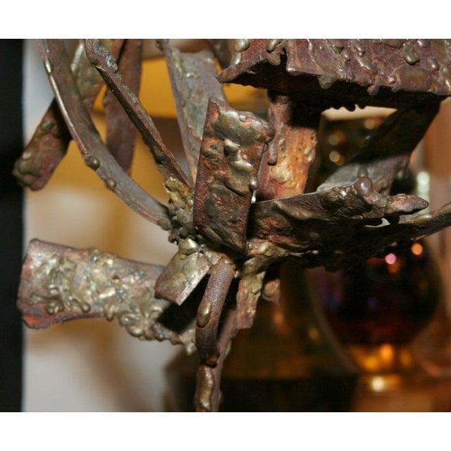 Brutalist Iron & Bronze Sunflower Sculpture Signed Faizman - Image 4 of 7