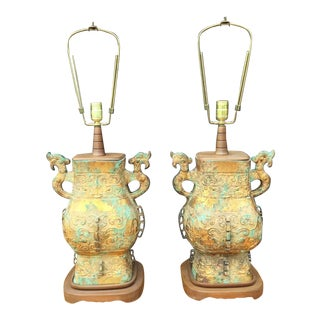 Remarkable Pair of Asian Table Lamps