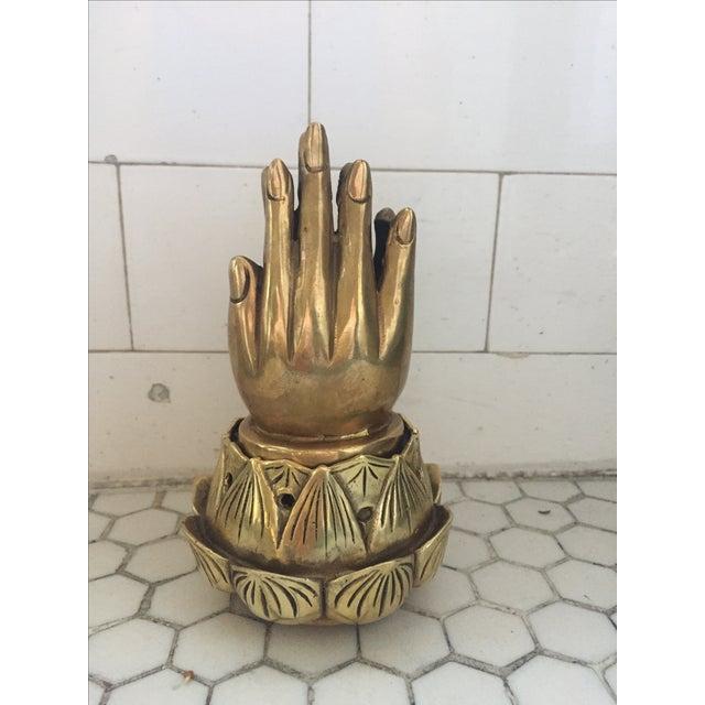 Hands on Lotus Brass Incense Burner - Image 2 of 9
