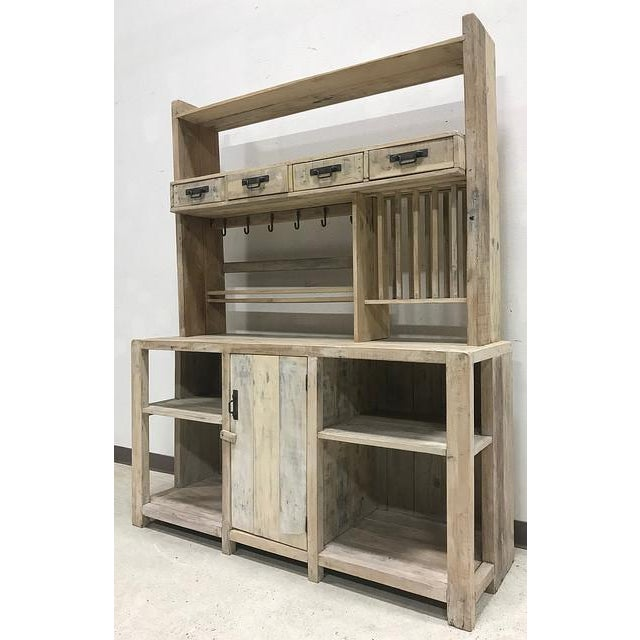 White Washed Barn Wood Style Hutch Cabinet - Image 3 of 3