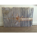 Image of White, Navy & Gold Striped Abstract Painting