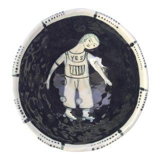 Artisan Figurative Black & White Bowl