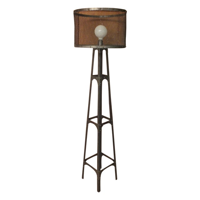 Recycled Industrial Style Floor Lamp - Image 1 of 8