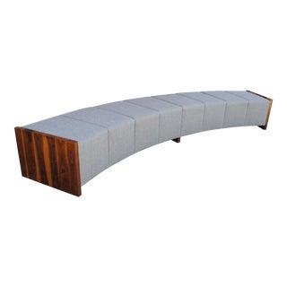 Large Modern Curved Gray Tweed & Walnut Bench