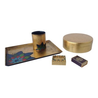 Gold Leaf Lacquered Smoke & Coaster Set