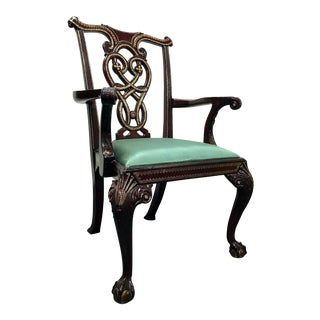 Maitland Smith Chippendale Ball Claw Leather Inlaid Armchair