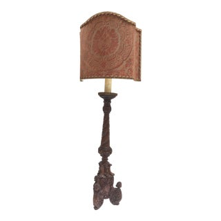 Fortuny Fabric Shade & Carved Wood Lamp