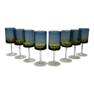 Blue Amberina Ombré Goblets - Set of 8
