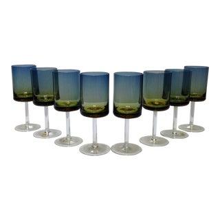 Blue Amberina Ombré Goblets - Set of 8