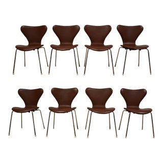 Brown Leather & Chrome Dining Chairs - Set of 8