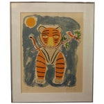 Image of Tiger & Bird Lithograph by Henri Maik