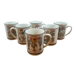 Stoneware Fine Gardening Mugs - Set of 6