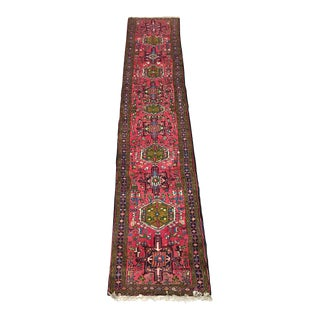 """Vintage Fuchsia Pink Runner With Floral Motif - 2'5"""" x 13'"""