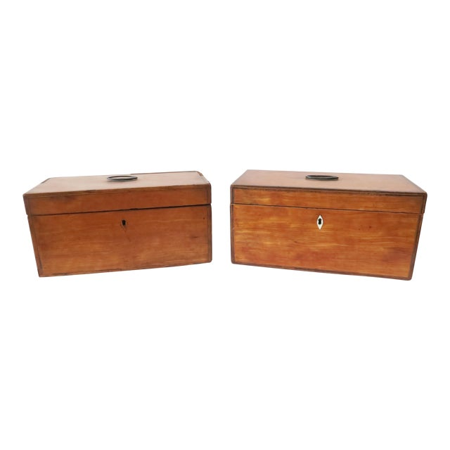 Antique Wood Tea Caddies- a Pair - Image 1 of 7