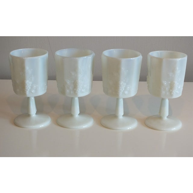White Opalescent Glass Paneled Grape Goblets - S/4 - Image 3 of 9