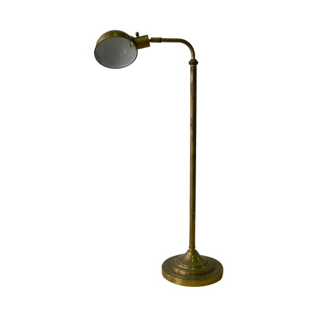 natural brass pharmacy floor lamp chairish. Black Bedroom Furniture Sets. Home Design Ideas
