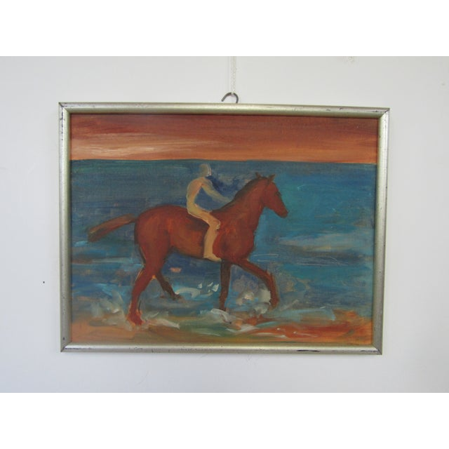 1950's Oil on Board Horseman by the Sea - Image 2 of 4