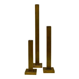 Martha Sturdy Bronze Candle Holders- Set of 3
