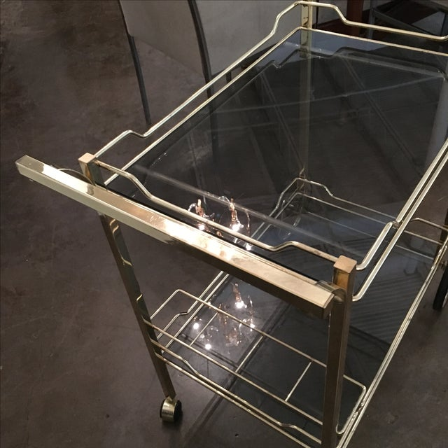 Brass with Smoke Glass Bar Cart - Image 5 of 7