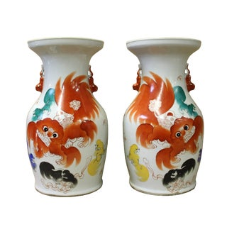 Chinese Pair White Porcelain Orange Foo Dogs Vases