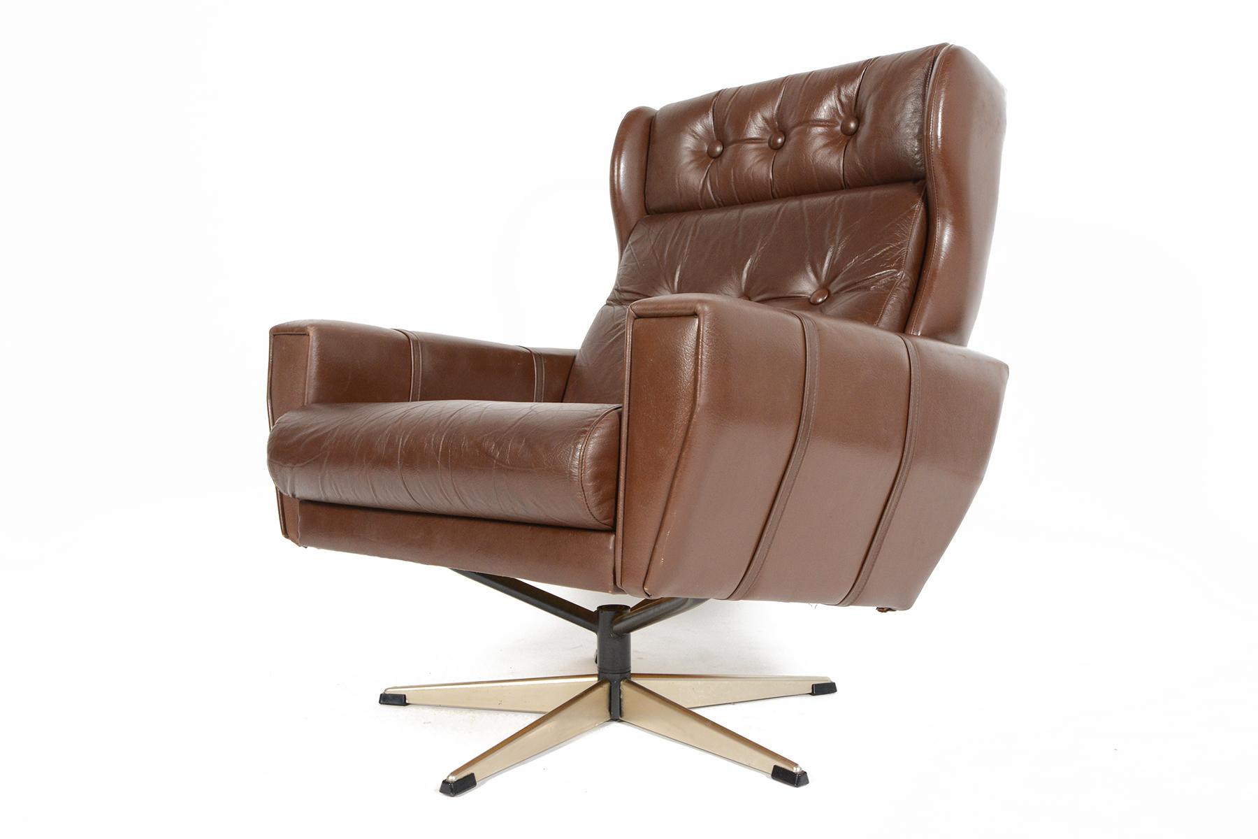 high back brown leather swivel lounge chair chairish
