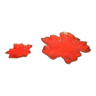 Mid-Century Orange Ceramic Dish - A Pair
