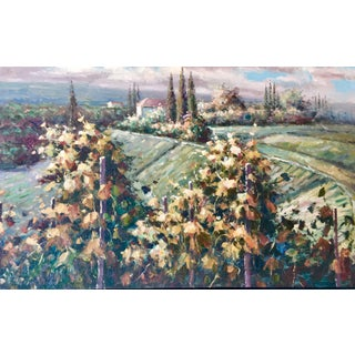 Autumn Vineyard Oil Painting