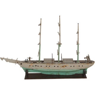 Antique Handmade Wooden Ship on Stand