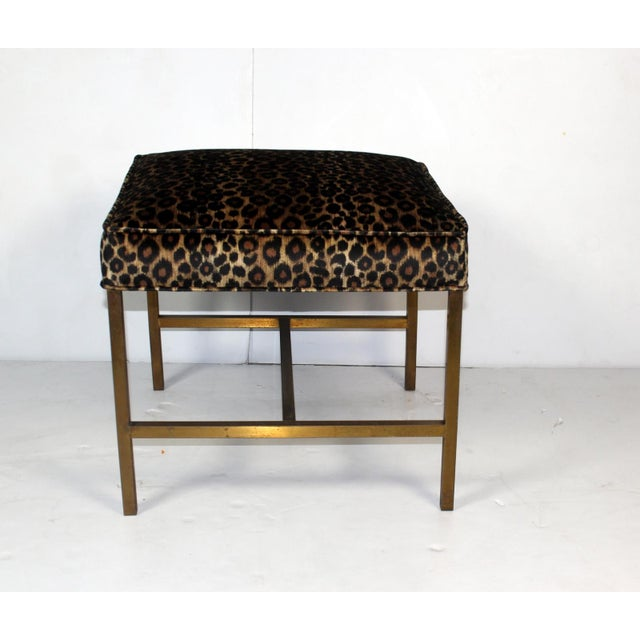 Vintage 1970s Brass Base & Leopard Seat Bench - Image 3 of 4
