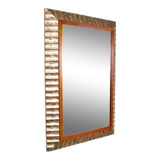 John Black for Baker Silver Leaf Fluted Frame Mirror
