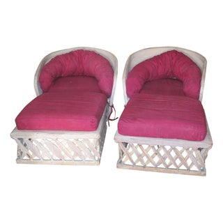 Large Leather and Cane Chairs & Ottomans