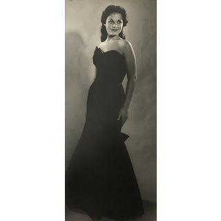 Vintage 1950s Woman in Formal Gown Photograph