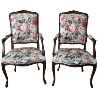French Floral Occassional Armchairs - A Pair