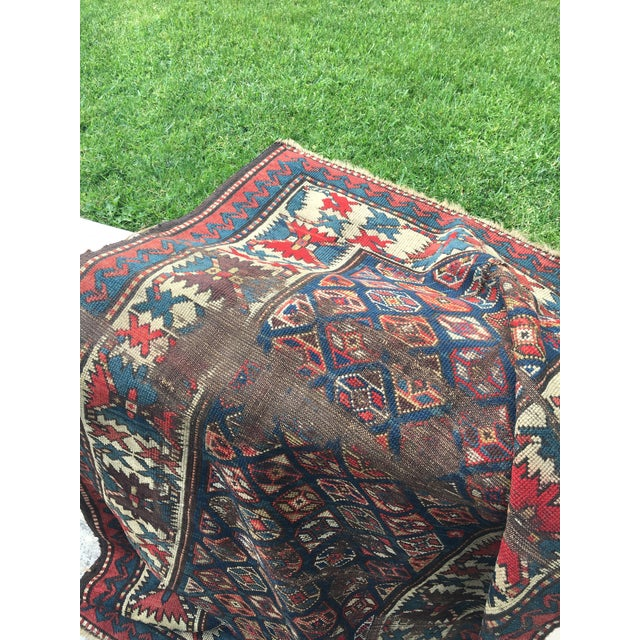 "Antique Russian Kazak Runner - 3'4"" X 7' - Image 5 of 7"