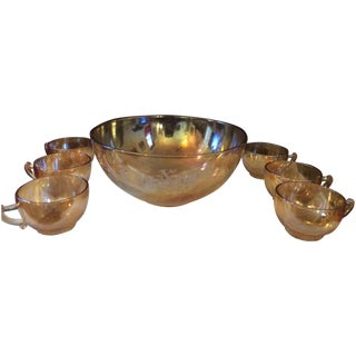 Vintage Marigold Carnival Glass Bowl & Cups