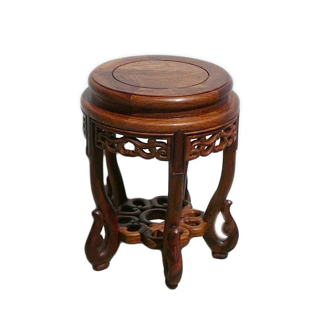 Chinese Huali Rosewood Round Scroll Leg Stool - Image 2 of 5