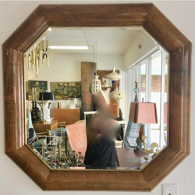 Image of Mid-Century Goatskin & Brass Frame Mirror