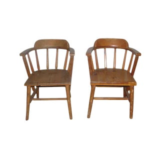 Solid Pine Wooden Captains Chairs - A Pair