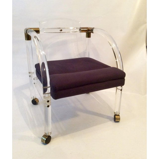 Mid-Century Lucite & Brass Lounge Chair - Image 3 of 9