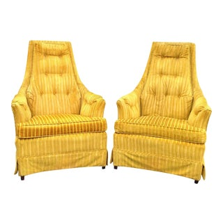 Yellow Velvet Lounge Chairs - A Pair