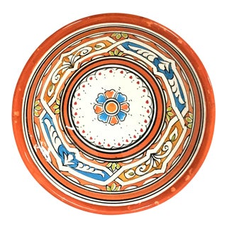 Moroccan Hand-Painted Orange Ceramic Bowl