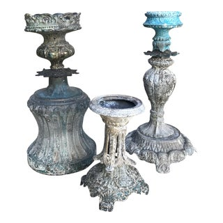 "Artisan ""Upcycled"" Metal Boho Nouveau Candlesticks - Set of 3"