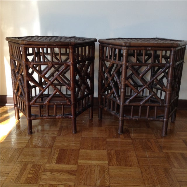 Rattan Chinese Chippendale Fretwork Tables - Pair - Image 4 of 8