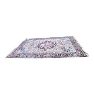 Large Persian Style Vintage Cotton & Silk Blend Area Rug - 8′ × 11′