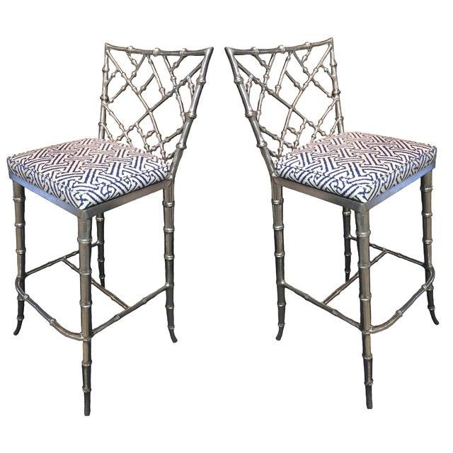 Phyllis Morris Silver Bamboo Barstools - Pair - Image 6 of 8