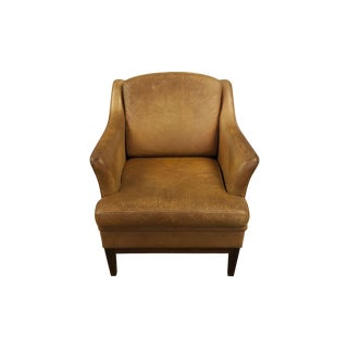 Vintage Tan Leather Chair with Peg Legs