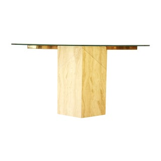 Ello Italian Travertine and Glass Console Table